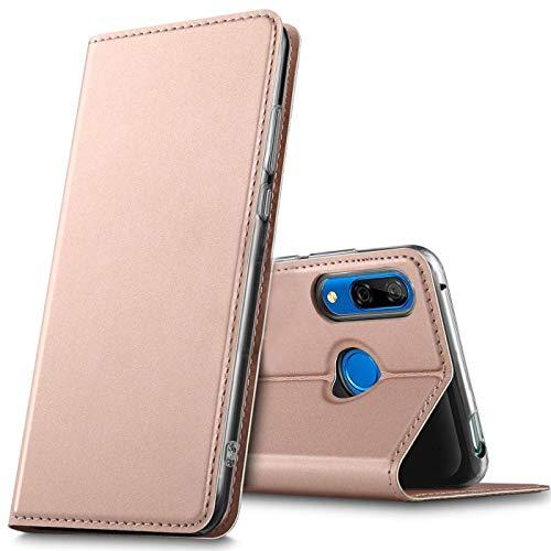 Verco Handyhülle für P Smart Z, Premium Handy Flip Cover für Huawei P Smart Z Hülle [integr. Magnet] Book Hülle PU Leder Tasche, Rosegold