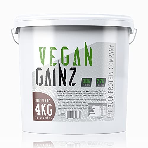 Photo of Vegan Gainz Protein Powder 4kg – Plant Based Protein – Weight Gainer – 30g Per Serving – Chocolate | The Bulk Protein Company