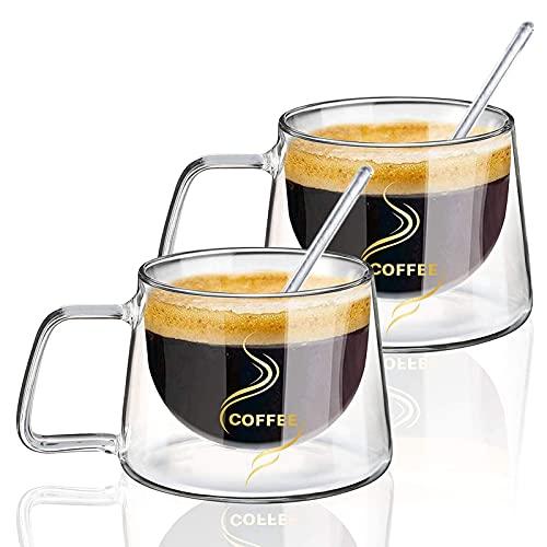CSPone Cristal Vasos Tazas de Café con Cuchara de Vidrio Pared Doble Vidrio Transparente Anti-escaldaduras para Té Latte Leche Cappuccino Jugo 200 ml (2)