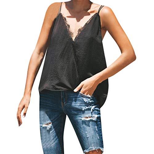 Deelin damesbovenstuk voor zomer, casual, sexy, casual, V-hals, kant, geweven, pure kleur, zonder mouwen, sling blouse
