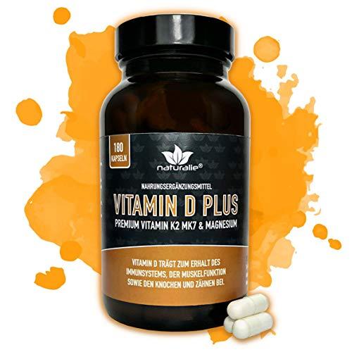 naturalie® - VITAMIN D PLUS premium Vitamin K2 MK7 (K2VITAL®) und Magnesium - Markenqualität - SCHADSTOFFGEPRÜFT - 180 vegane Kapseln im Glas ohne unnötige Zusatzstoffe