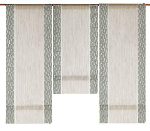 Decocompany Home Design Mini Flächenvorhang Set beige Mint 2294-02 | 3 Teile | Scheibengardine Gesamtbreite 90cm (3x30cm) Höhe 80/60/80cm