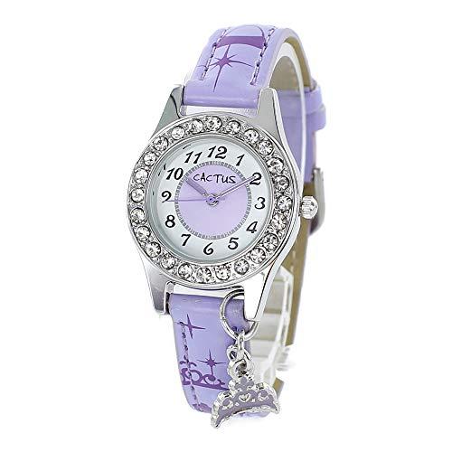 [カクタス]CACTUS キッズ ウォッチ 女の子 こども 小学生 チャーム付き クリスタル 腕時計 [国内正規品] (CAC-71-L09/パープル)