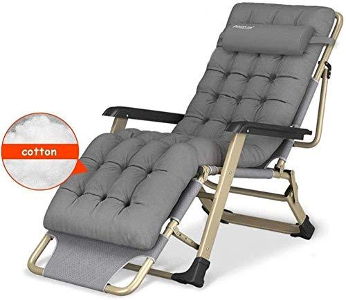 ZXH Plegable Gravedad Cero sillón con la Cabeza del Amortiguador de la Almohadilla de algodón reclinable Ajustable Sillas de Cubierta del jardín del Patio al Aire Libre Tumbonas de hasta 300 Kg