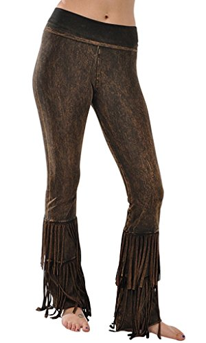 T Party Mineral Wash Fringed Bootcut Yoga Pants, Small, Black