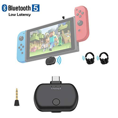 Transmisor de Audio Bluetooth 5.0 con USB C para Nintendo Switch, aptX Adaptador Bluetooth inalámbrico de Baja latencia para TV PC PS4, par con Dos Auriculares Bluetooth, Plug and Play