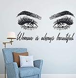Femme maquillage autocollant mural yeux cils sticker mural cils Extensions magasin de beauté décor sourcils sourcils Mural beauté cadeau 104x57 cm