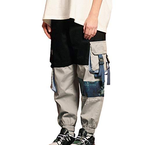 DEBAIJIA Damen Hosen Sweatshose Freizeithose Sweatpants Jogginghose mit Taschen Locker Weite Lange Hose Gedruckte Frauen Mädchen Retro Mode Hip Hop Straßenkleidung Trend für Freizeit Outdoor - M