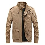 YAYUMI Men's Solid Color Pocket Stand Collar Zipper Button Military Armband Top Slim Fashion Windproof Flight Jacket Khaki