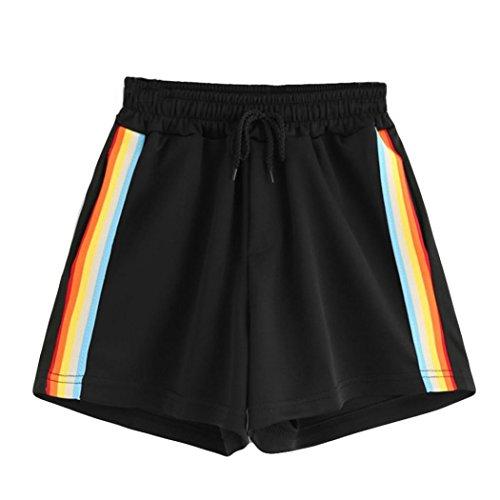 Vectry Damen Hosen Shorts Sommer Hotpants Bermudas Ultra Jeans Leggings Strand Laufgymnastik Yoga Der Sporthosen Schlafanzughosen - Gestreifte Mid Waist Loose Drawstring Waist Ringer (S, Schwarz)