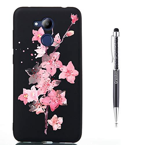 Grandoin Custodia Compatibile Huawei Honor V9 Play / 6C PRO, Custodia Cover Silicone con Disegni Slim TPU Morbido Antiurto Bumper Case Protettiva Protezione Custodia (Fiori di Ciliegio)