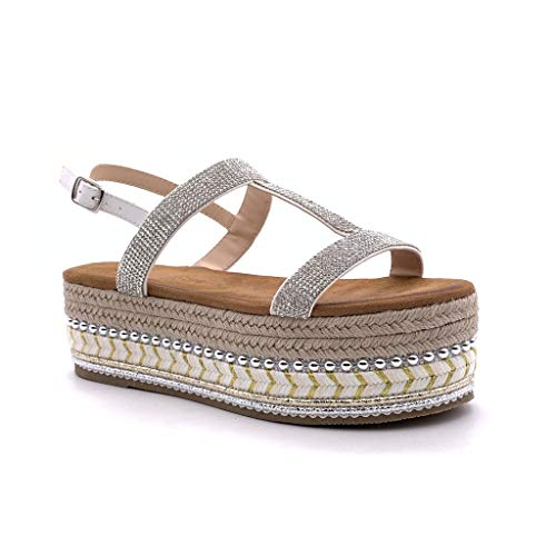 Angkorly - Dames Fashion Schoenen Sandalen Espadrilles - Platform - Folk/Ethnic - Comfortabel - Strass - Parel - Met Straw Wedge Platform 6 cm
