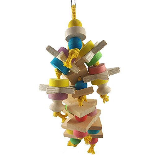 Yowablo Papagei Spielzeug vögel hängen Fan Spielzeug beißen kauen Spielzeug (Größe:40cm,Mehrfarbig)