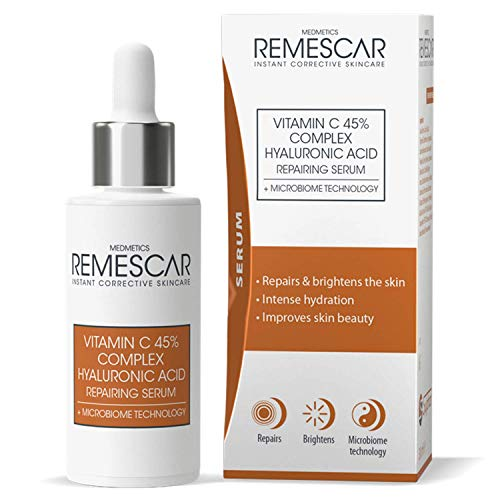 Remescar – Vitamin C Hyaluronic Acid Repairing Serum - Microbiome Technology – Boosts Collagen - Repairs and Brightens the Skin – Intense Hydration – Smooths and Firms Skin