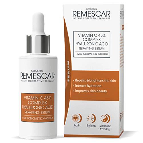Remescar - Siero Riparatore all'Acido Ialuronico e Vitamina C - Tecnologia Microbioma - Stimola la produzione di collagene - Ripara e illumina la pelle - Idratazione intensa