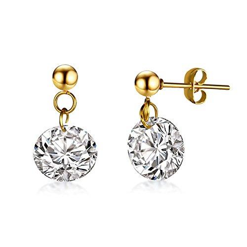 ANAZOZ Acero Inoxidable Aretes para Mujer Soltar Pendientes Oro Diamante Form 10x19MM