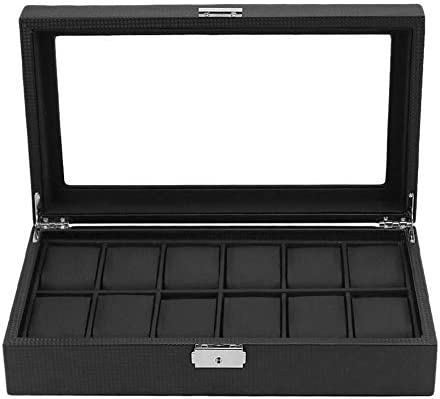 Watch Box Max 67% OFF Carbon Black Cheap Fiber Inside Pillo Outer PU Leather