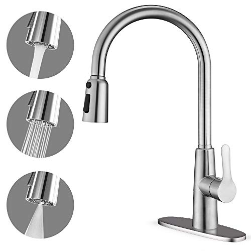 Best Review Of CORYSEL Kitchen Faucet with Pull Down Sprayer, Unique 3 Water Effect High Arc Brushed...