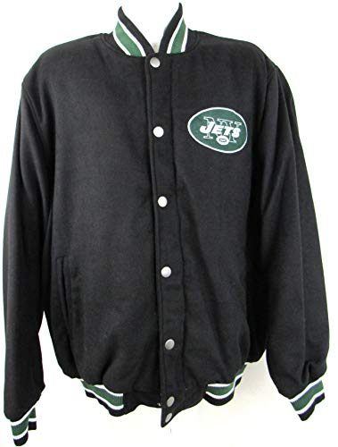 G-III Sports Mens New York Jets Snap Button and Full Zip Wool Blend Embroidered Jacket, Size 2XL
