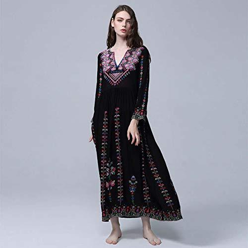 nobrand Neues Vintage Kleid Mit V-Ausschnitt Für Frauen Böhmisches Strandresort Bestickte Blumen Lockeres Kleid Ethnisches Kleid S Schwarz
