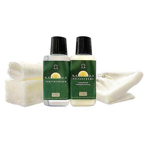 KERALUX Lederpflegeset von LCK Imprägnierung und Lichtschutz. Je 150 ml Reiniger und Pflege.Sehr gut für Longlife Leder geeignet. Aktion: Jetzt mit Staubfix Handschuh für zwischendurch
