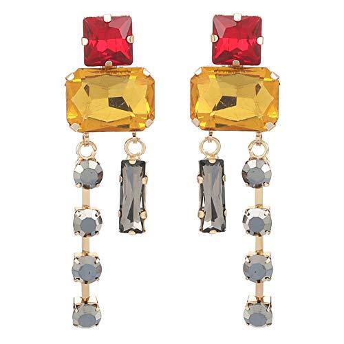 Vvff Pendientes De Diamantes De Imitación De Cristal Cuadrados Multicapa Accesorios De Joyería De Fiesta Para Mujer