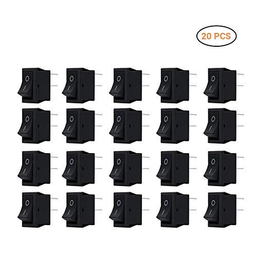 EisEyen 20 Stück ON/Off Kippschalter, Mini Boat Schalter SPST Druckknopf Wippe für Auto Boot Haushaltsgeräte, Schwarz