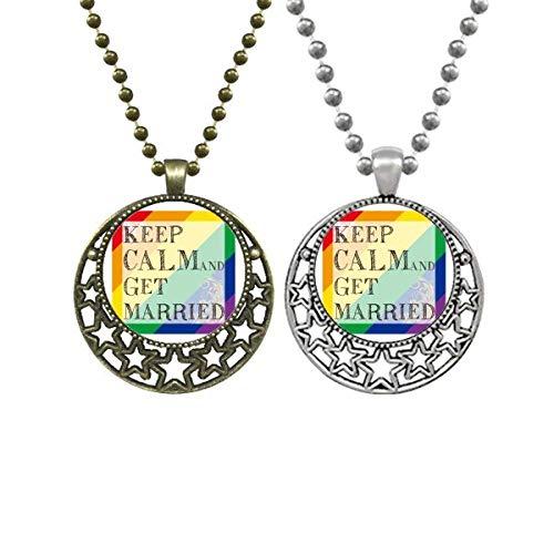 LGBT - Collar con colgante de bandera del arco iris con diseño de estrellas de luna retro