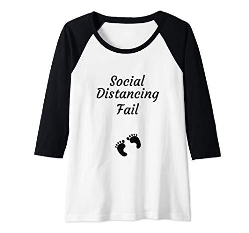 Womens Social Distancing Fail Quarantine Baby Funny Pregnancy Raglan Baseball Tee