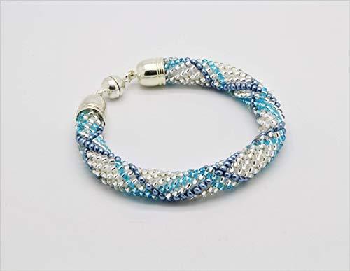 Häkelarmband, Schlaucharmband, gehäkeltes Glasperlenarmband, Armband aus Rocailles, türkis blau