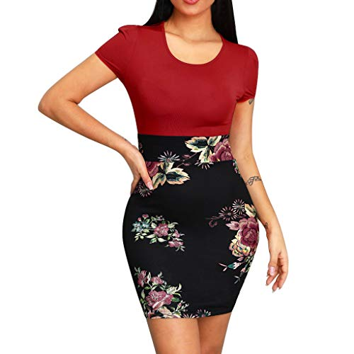 Womens Bodycon Mini Jurk, Dames Korte Mouw Crew Neck Effen Tops en Bloemen Patchwork Print Rok Party Mini Jurk