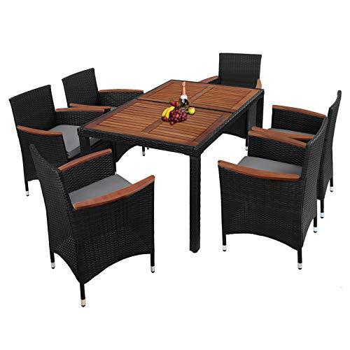 Montafox 13-teilige Polyrattan Garten Essgruppe Terasse Sitzgruppe mit Akazienholz 6 Personen Gartenmöbel mit Kissen und Bezügen ; Titan-Schwarz/Kieselstrand