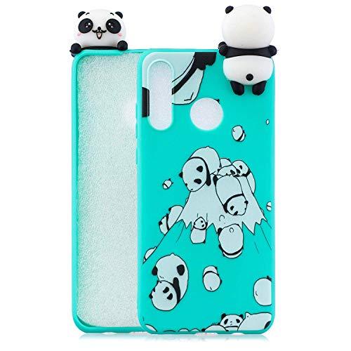 Wubao Compatible con Funda Huawei P30, Carcasa 3D Animal Muñeca Color Caramelo Case Cover Ultrafino Mate Suave Flexible Silicona TPU Gel Protector Antigolpes - Panda