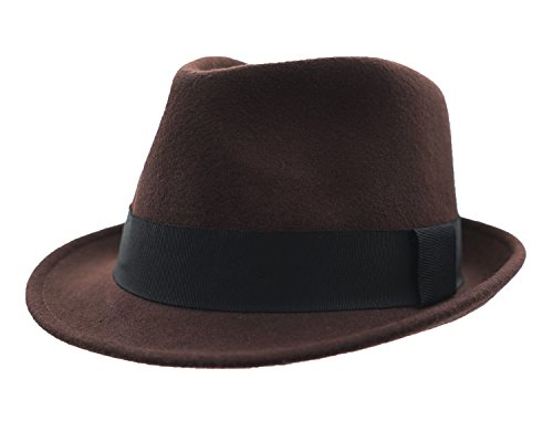 Home Prefer Men's Wool Felt Winter Hat Short Brim Fedora Hat Large Coffee