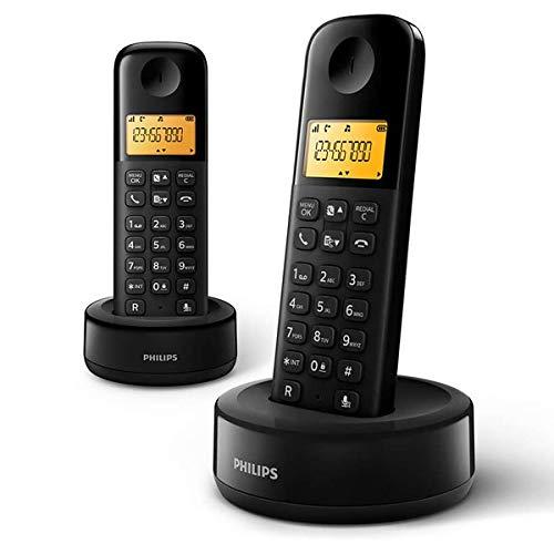 Philips D1602B/34 - Teléfono Fijo Inalámbrico (Retroiluminación, HQ-Sound, Hasta 4 Microteléfonos, Agenda 50 nombres y números, Consumo reducido Eco, Identificador de llamadas, Alcance 50m-300m) Negro