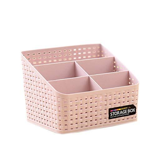 Storage Basket, Cosmetic Box Organiser,Plastic Storage Box Desktop 5 Grid Sub-grid Storage Case Multi-function Storage for Desktop Office Bedroom Countertop Home Kitchen-Pink