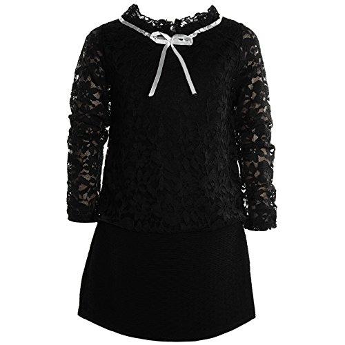 BEZLIT Mädchen Kinder Spitze Frühlings Kleid Peticoat Festkleid Lang Arm Kostüm 21052 Schwarz Größe 128