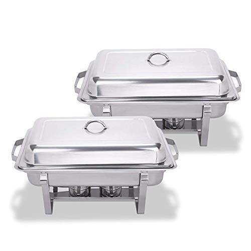 SucceBuy 2 PS Chafing Dish en Acier Inoxydable Chauffe-Plat Carré pour Jardin Camping (2 PS)