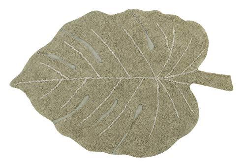 Lorena Canals - Alfombra Lavable Monstera Olive - Oliva, Natural, Miel - 97% algodón 3% Otras Fibras - 120x180 cm