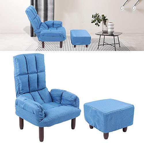 Dioche Sillón reclinable con reposapiés, respaldo ajustable, suave y cómodo, esponja + hierro + madera de haya, silla para casa, dormitorio, oficina