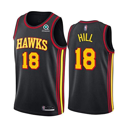 SHR-GCHAO 2021 Baloncesto De Los Hombres NBA Atlanta Hawks # 18 Solomon Hill Sports Jersey, Malla Bordada Quick-Secking Transpirable Cuello Redondo Camisa,Negro,S(165~170cm)