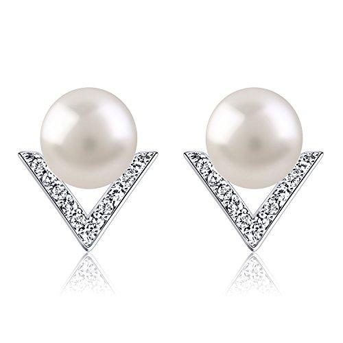 B.Catcher orecchini donna in argento a triangolo con perle d'acqua dolce.