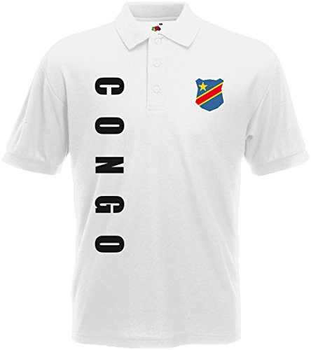 Kongo Congo Zaire Polo-Shirt Trikot Wunschname Wunschnummer (Weiß, L)