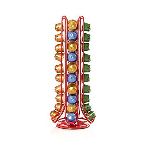 Lumaland Cuisine Porte-capsule Distributeur rotatif vertical en métal pour capsules de café Nespresso 40 pièces Rouge Vertical