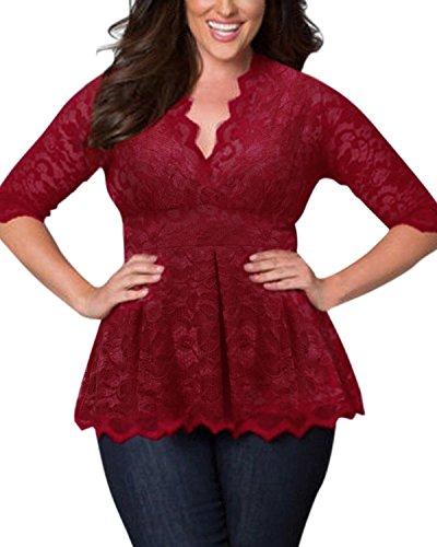 SUNNYME Damen Shirt Sexy Spitze Oberteile Elegant Langarmshirts Größe Plus Size V-Ausschnitt Blumen 1/2 Ärmel Crochet Bluse Tops Wein Rot EU 50