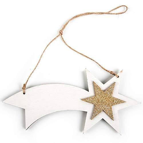 Logbuch-Verlag 1 Ciondolo Natalizio Stella cometa Betlemme Legno Bianco Oro Glitter Fiocco Natale addobbi Albero Famiglia Particolare Feste Cordino