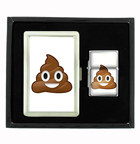 Buy Discount Customized Collectables Poop Emoji Funny Cigarette Case and Flip Top Oil Lighter Set