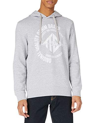 TOM TAILOR Denim Herren 1024417 Logo-Print Hoodie Sweatshirt, 15398-Light Stone Grey Melangé, XXL