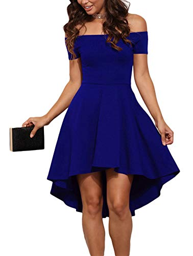 Sidefeel Women Off Shoulder Short Sleeve High Low Skater Dress Small Blue