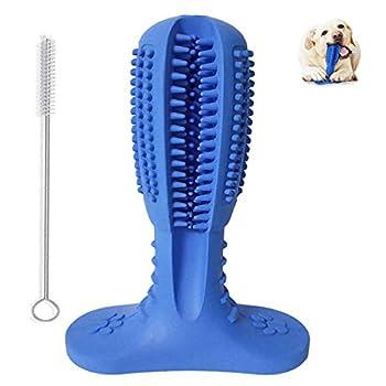 Brosse à dents à mâcher pour chien - Jouet de nettoyage des dents en caoutchouc naturel - Bâton de nettoyage pour les soins dentaires de moyenne et grande taille - Bleu moyen
